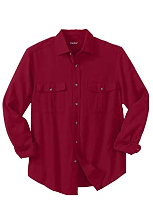 KingSize Men's Big & Tall Solid Double-Brushed Flannel Shirt,Rich Burgundy, Big