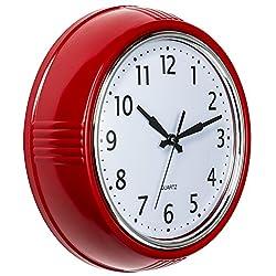 Bernhard Products Retro Wall Clock 9.5 Inch, Red Round Quartz Silent Non Ticking Quality Kitchen Clock