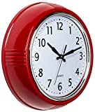 Bernhard Products Retro Wall Clock 9.5 Inch Quality Red Kitchen Clock Round Vintage Quartz Silent Non Ticking