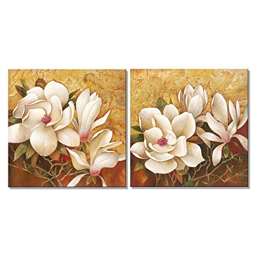 Pyradecor Magnolia Flowers Modern 2 Piece Stretched and Framed Floral Giclee Canvas Prints Oil Paintings Artwork Style Brown Pictures on Canvas Wall art for Living Room Bedroom Home (Magnolia Wall)