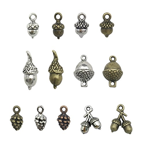 100g Craft Supplies Antique Bronze Silver 3D Pineal Fruit Acorn Nut Charms Pendants for Crafting, Jewelry Findings Making Accessory For DIY Necklace Bracelet M95 (Acorn Charms)