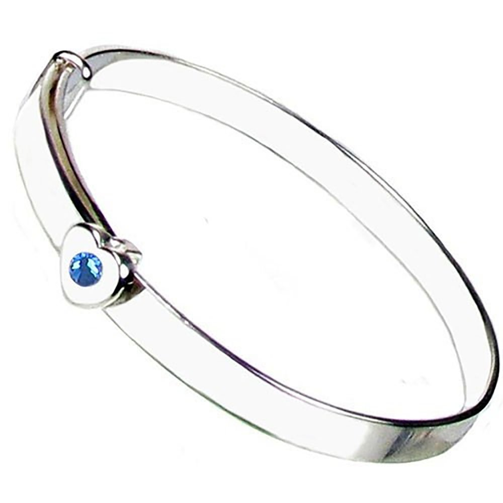Christening Bangle - Sterling Silver - Sapphire Crystal September Birthstone - Free Engraving – Gift Box with Personalised Ribbon - 12 Month Guarantee – Suitable for Girls and Boys