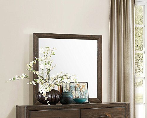 - Branton Rustic Mirror w/Brown Wood Frame by Homelegance