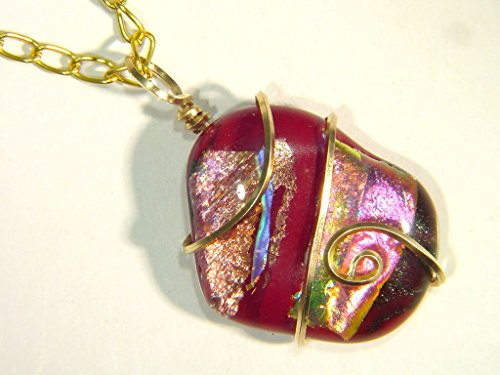 14kt Gold Filled Hand Wire Wrapped Gorgeous Dichroic Glass Pendant with GP Chain Necklace 3408E h