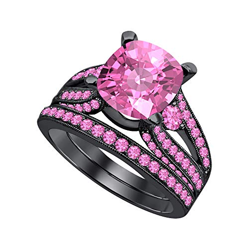 Beautiful Engagement Wedding Band Bridal Ring Set 2.75 Ctw Cushion Cut Pink Sapphire 14k Black Gold Over .925 Sterling Silver