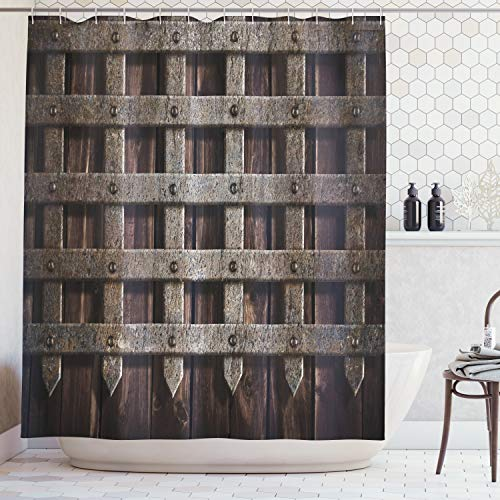 Medieval Decor Shower Curtain by Ambesonne, Medieval Wooden Castle Wall Metal Gate Greek Mid-century Design Art Print, Polyester Fabric Bathroom Set with Hooks, 84 Inches Extra Long, Dark Wood