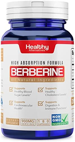 Premium Natural Berberine Supplement 900mg 180 Capsules 3 Month Supply Made in USA Non-GMO – Supports Healthy Blood Sugar Levels Metabolism, Improves Immunity, Digestion Cardiovascular Health
