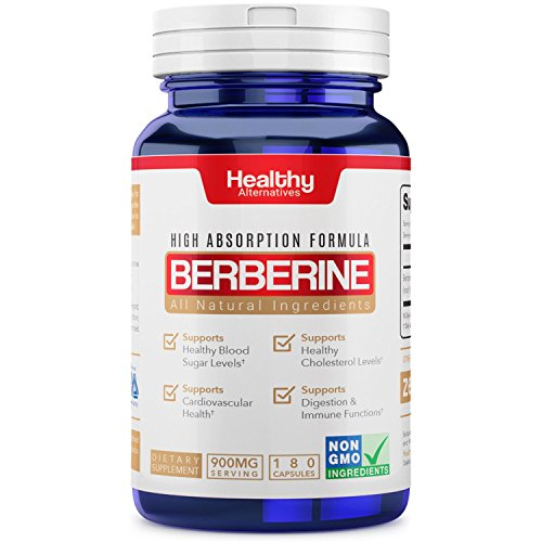 Premium Natural Organic Berberine 900mg Serving 180 Capsules Non-GMO Made in USA - Supports Healthy Blood Sugar Levels & Glucose Metabolism, Improves Immunity, Digestion & Cardiovascular Health