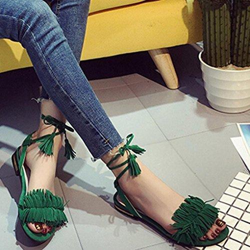 Flyfish moda verano mujeres borlas Thong plana sandalias caliente Cruz hebilla zapatos, Rojo, UK:3.5 Verde