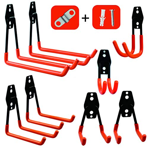 (Garage Storage Utility Hooks,Wall Mount&Heavy Duty Garage Hanger & Organizer to Handle Ladder, Hold Chairs,with Premium Steel to Hang Heavy Tools for Up to 55lbs(set of 8))
