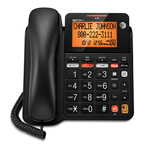 - AT&T CD4930 Corded Phone with Answering System and Caller ID, Black
