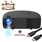 Full HD Video Projectors, Boscheng Home Cinema Projector Support 720P 1080P with HDMI USB VGA Ports for Laptop Smartphones Ideal for Office Home Cinema Entertainment Games Party