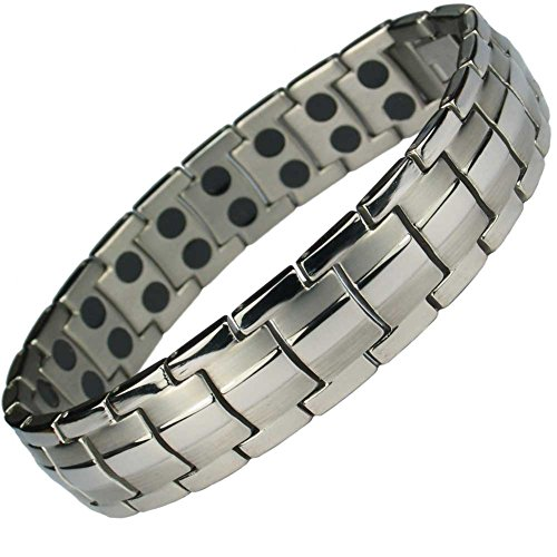 MPS EUROPE Classic Titanium Magnetic Bracelet with Fold-Over Clasp,...