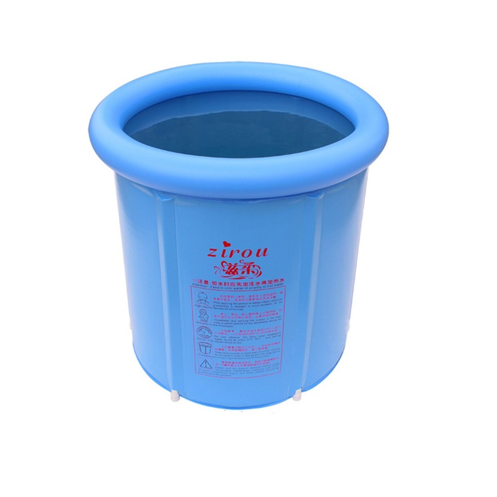 Plastic Folding Inflatable Bathtub Household Tub Adult Infant Child Bath Tub Durable Dirt/adjustable Height/easy To Fold Blue (6573cm, 7073cm, 7578cm) (Size : 6573cm)