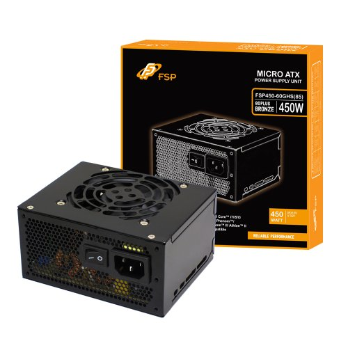 FSP 450W Mini ITX Solution / SFX 12V / Micro ATX 80 Plus Bronze Certification Power Supply (FSP450-60GHS(85)-R)