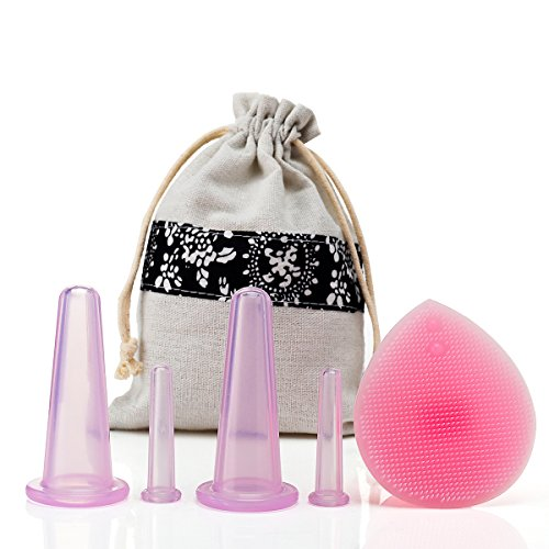 NIPOO Face Cupping Set - Cupping for Face & Eyes (4pcs) + Free Cleansing Brush, Anti Aging/Wrinkle Silicone Suction Massage Cup Therapy Set, Improve Collagen