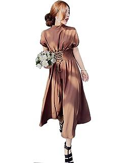 79486d282e5e0 ロングワンピース レースアップワンピース パーティドレス ワンピース ロング 着痩せ 袖あり フォーマル パーティー 結婚式