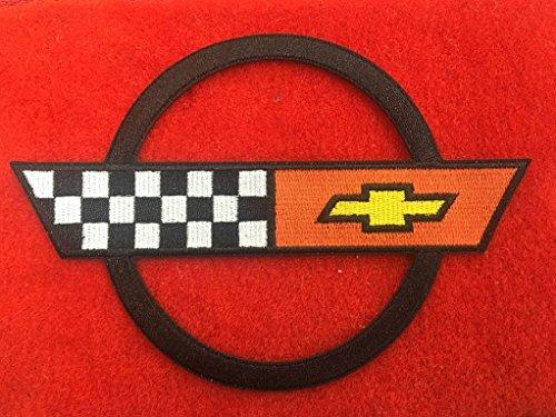 (1984-90 C4 Corvette w Classic Loop Red Front Floor Mats Set & Black Circle Corvette Applique Logo.)