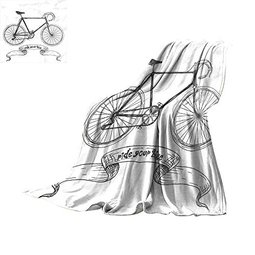 RamonDecorFH Bicycle,Baby Blanket Ride Your Bike Lettering with Nostalgic Mountain Bike Hand Drawn Sketchy Throws for Couch Bed Living Room W90 x L70 inch]()