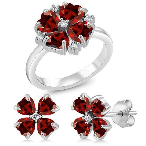 Shape Garnet Wedding Set (4.89 Ct Heart Shape Red Garnet 925 Sterling Silver Ring Earrings Set (Ring Size 7))