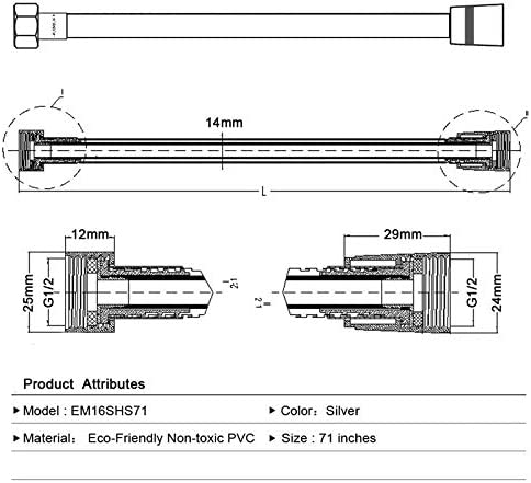 Size : 150cm 4M PVC Flessibile Doccia Set Accessori antideflagranti Pipes GO-AHEAD Tubo Doccia Doccia Tubo Bagno 1.5M 2M 3M
