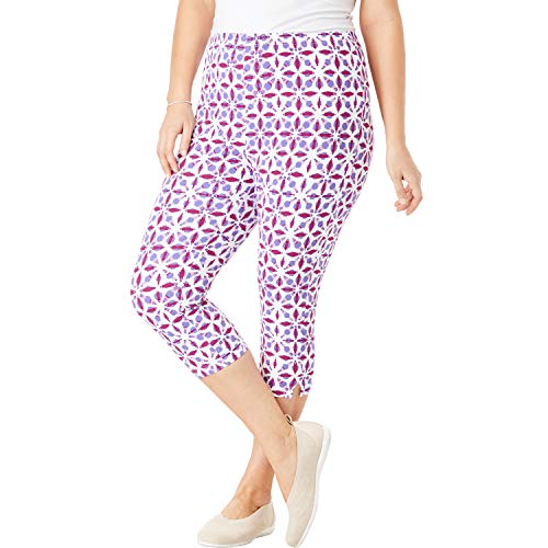 Woman Within Women's Plus Size Stretch Cotton Printed Capri Legging - Bright Berry Watercolor Tile, 2X ()