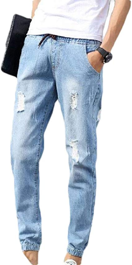 VITryst Mens Pockets Middle Waist Stylish Broken Hole Relaxed-Fit Washed Pants