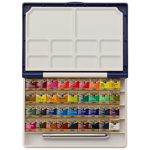 Holbein Watercolor Set: Palm Plastic Case: 36 Half Pans by Holbein