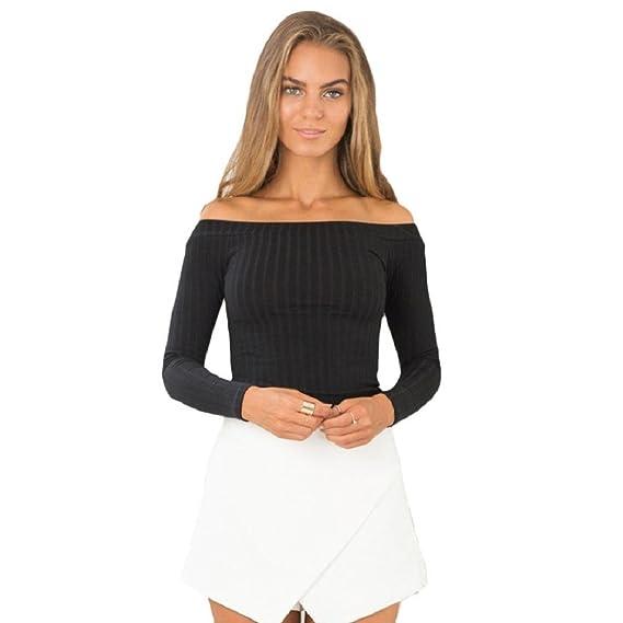 Tongshi Moda Mujeres sin mangas corta top ajustado suéter que hace punto sin tirantes de la