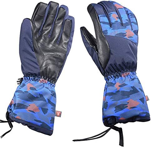 屋外の男性と女性の寒さと暖かいダブルスノーボード手袋 (Color : 青, サイズ : M)