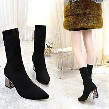 Shukun Botines Zapatos Mujer otoño Calcetines de tacón Alto Botas Botas Puntiagudas Martin Botas tacón Grueso Botines: Amazon.es: Deportes y aire libre