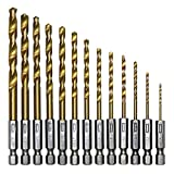 Favortools 13pcs HSS Titanium Coated Twist Drills Bit Set Hex Shank Quick Change Regular drilling Tools
