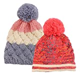 Arctic Paw Toddlers' Chunky Cable Knit Beanie Pompom Skull Cap, Grey Stripe/Red