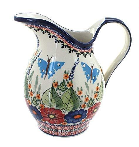 Polish Pottery Floral Butterfly Pitcher