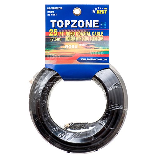 Topzone 25 feet RG6U Coaxial Cable