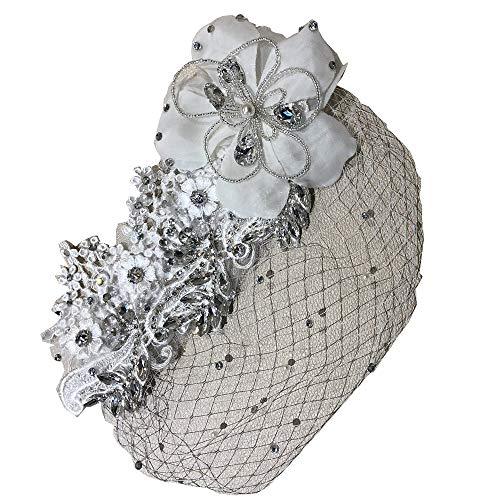 Women's Birdcage Bridal Veil & Crystal Spray Cluster Encrusted Blooming Flower Brooch - Veils Birdcage Bridal
