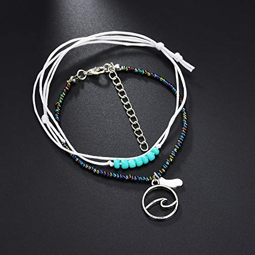 (Barhalk Multi-Layered Foot Chain Cotton Rope Anklet Beaded Ankle Chain Sea Turtle Anklet Jewelry Ornaments for Beach Holiday Party Mother's Day Anniversary Graduation Celebration Gifts)