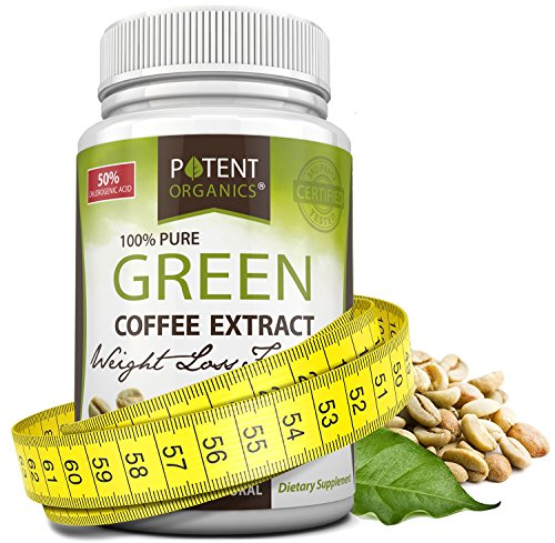 Potent Organics 100% Pure Green Coffee Bean Extract: Standardized To 50% Chlorogenic Acid – Green Coffee Beans – 800mg, 60 capsules (1 per serving) – Green Bean Coffee Extract