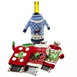 Christmas Wine Bottle Accessory UGLY SWEATER KNITTED BOTTLE Sweaters ~ Four Assorted Sweaters in Adorable Ugly Designs ~ Fun Christmas Party Gift ~ Holidays Present for Wine Lovers ~ Bottle Wrap Dress your Wine Bottle in Holiday Cheer ~ Party Favors Prize Giveaway