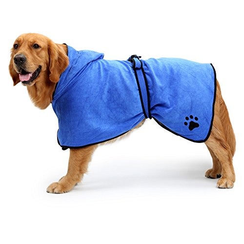 NACOCO Dog Bathrobe Towel Microfiber Pet Drying Moisture Absorbing Towels Coat for Dog and Cat (M, Blue)