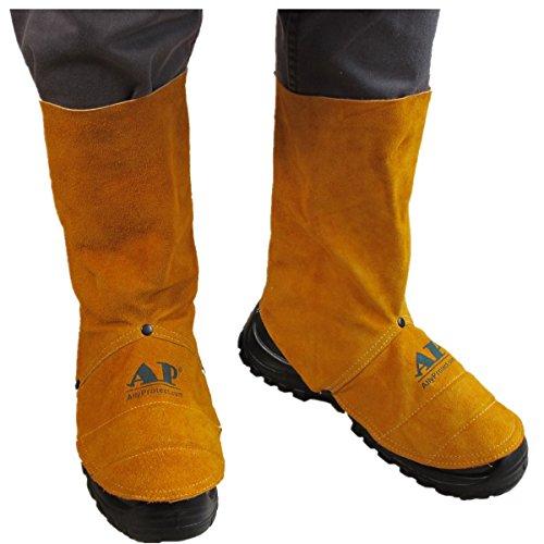 Funda de Zapato de Trabajo de Cuero de Cuero de Vaca Resistente a la abrasión de la Polaina de Soldadura Spats de Soldadura de Cuero: Amazon.es: Zapatos y ...