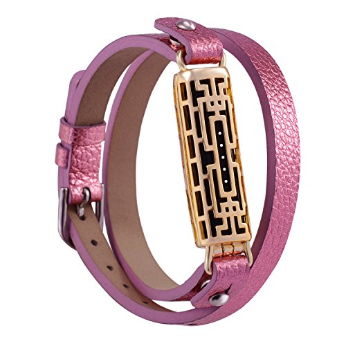 GHIJKL Compatible Fitbit Flex 2 Bands, Metal and Genuine Leather Wristband Replacement for Fitbit Flex 2, Flex2 Strap Style (Gold Color Metal/Pink Leather)