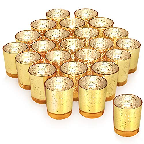 Gold Votive Candle Holder Set of 24 ,HabiLife Mercury Glass Tealight Candle Holder,Adds The Perfect Ambiance to Your Wedding/Home -