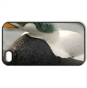 Beautiful Duck - Case Cover for iPhone 4 and 4s (Ducks Series, Watercolor style, Black)