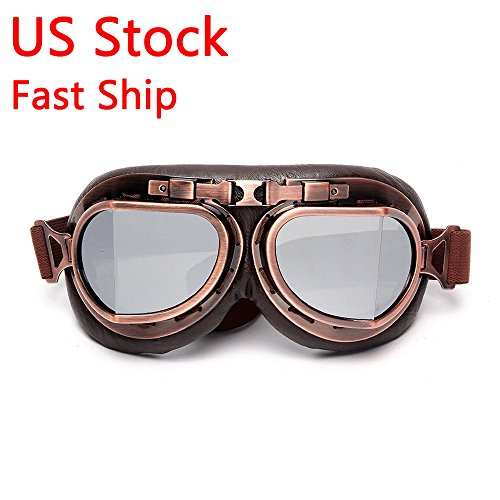 LEAGUE&CO Windproof Motorcycle Vintage Goggles For Harley Racer Cruiser Scooter Biker Aviator Pilot, Skiing glasses, Half or Open Helmet Goggle