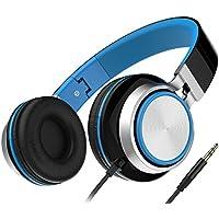 Honstek On-Ear Stereo Wired Headphones (Black/Blue)