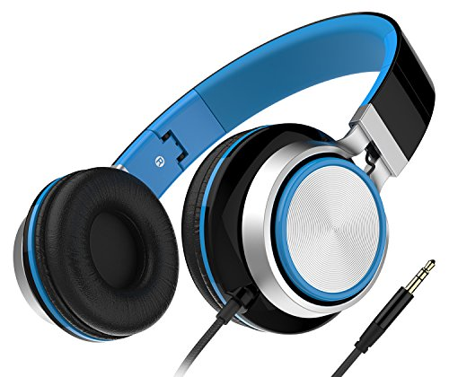 Headphones, Honstek Foldable and Lightweight On-Ear Headphone, Stereo Wired Comfortable Headset for iPhone iPad Android Cellphones Computer Tablets MP3/MP4 (Black/Blue) -