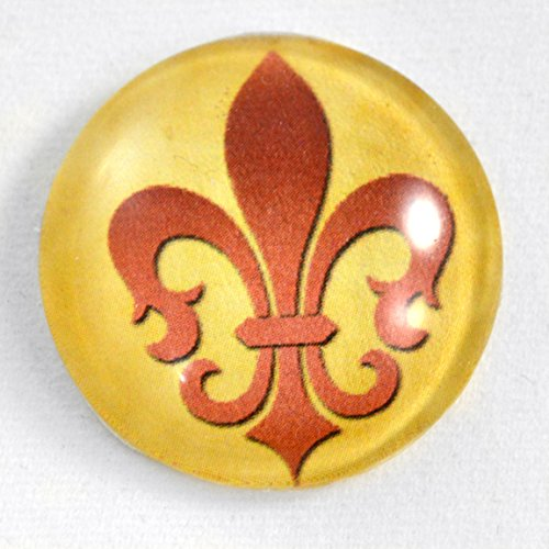 (Fleur de Lis Cabochon in Red and Tan Royal Regal Glass Flatback Circle Cab 1 Inch 25mm Jewelry Making Supply Domed Round Finding)