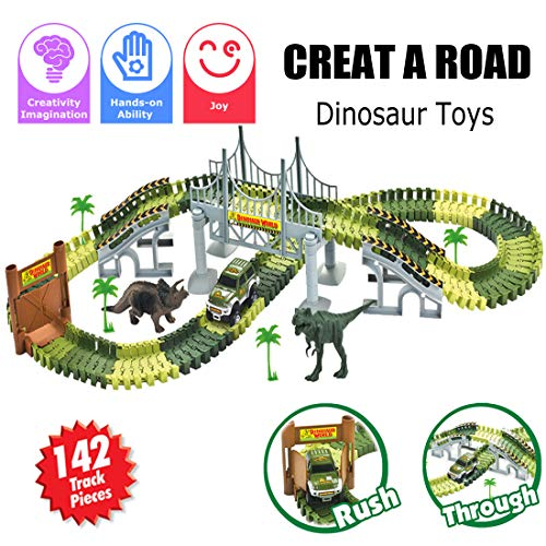 Car Race Tracks, Creat A Road, Dinosaur Jurassic World Toys with Bridge,142 Pieces Flexible Tracks, Train Track Set for Game, Gift, Kids ,Party,Toddler, 3/4/5/6 Years Old Boy & Girls, Playset by BooTaa