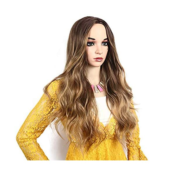 516G7BWuFCL IVY HAIR Scarlet Witch Wanda Maximoff Cosplay Wigs for Women Natural Long Wavy Curly Wig Dark Roots Ombre Blonde Wig…